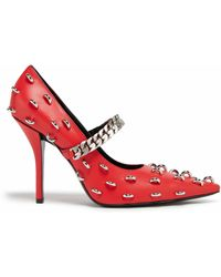 Givenchy Lambskin Leather Court Shoes With Metallic Details - Red