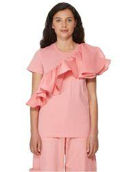Marques'Almeida T-shirt à volants en coton - Rose
