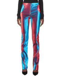 Mugler Pantalon skinny colour block - Bleu