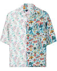 Charles Jeffrey LOVERBOY Two-print Hawaiian Silk Shirt - Blue