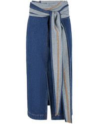 Y. Project Skirt In Denim With A Large Belt - Blue