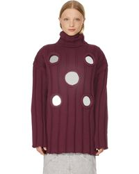 Area Turtleneck Jumper With Mirror Details - Red