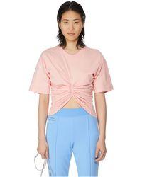 Y. Project T-shirt effet drapé en coton - Rose