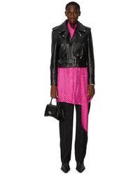 Balenciaga Veste Biker ajustée en cuir de veau - Noir