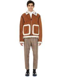 Lanvin Cotton-blend Zipped Aviator Jacket - Brown