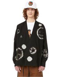 Ambush Chemise Shibori Kimono en coton - Noir