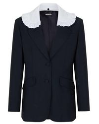 Miu Miu Blazer à col contrastant en laine vierge et mohair - Bleu