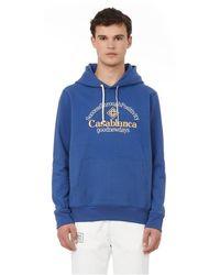 CASABLANCA Hoodie brodé en coton - Bleu