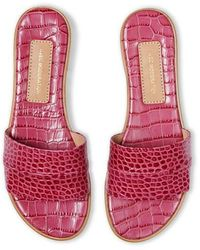 Avec Moderation Claquettes Bahamas en cuir embossé crocodile - Rose