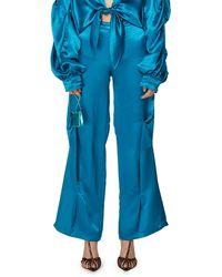 Collina Strada Loose Satin Trousers - Blue