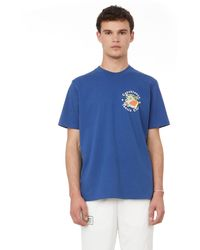 CASABLANCA Printed Cotton T-shirt - Blue