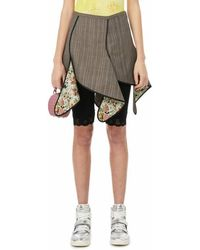 Y. Project Mini-jupe banane à carreaux - Marron