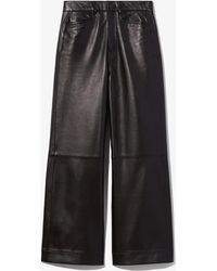 PROENZA SCHOULER WHITE LABEL Cropped Leather Trousers - Black