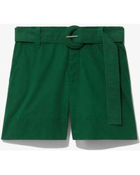 PROENZA SCHOULER WHITE LABEL Washed Cotton Belted Shorts - Green