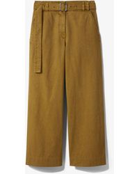 PROENZA SCHOULER WHITE LABEL Belted Washed Cotton Trousers - Green
