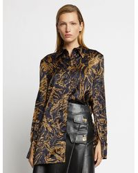 Proenza Schouler Painted Figures Satin Shirt - Black