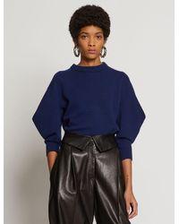 Proenza Schouler Cashmere Draped Puff Sleeve Sweater - Blue