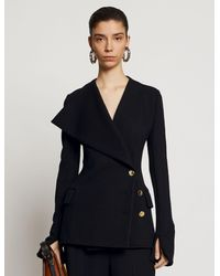 Proenza Schouler Exaggerated Lapel Jersey Suiting Jacket - Black