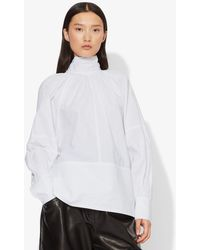 Proenza Schouler Crisp Cotton Turtleneck Top - White