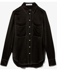 PROENZA SCHOULER WHITE LABEL Dobby Crepe Shirt - Black