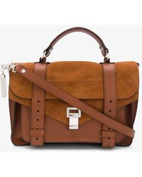 Proenza Schouler Medium Ps1 Leather & Suede Satchel - Brown