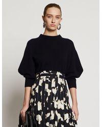 Proenza Schouler Cashmere Draped Puff Sleeve Sweater - Black