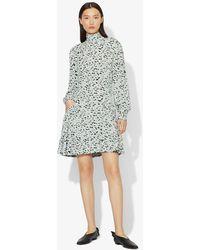 Proenza Schouler Puff-sleeve Printed Mini Dress - Blue