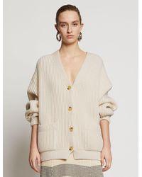 Proenza Schouler Chunky Cotton Rib Cardigan - Natural