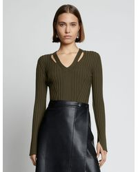 PROENZA SCHOULER WHITE LABEL V-neck Ribbed Sweater - Green