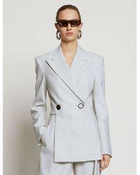 Proenza Schouler Check Suiting Asymmetrical Blazer - Grey