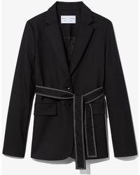 PROENZA SCHOULER WHITE LABEL Stretch Suiting Belted Blazer - Black