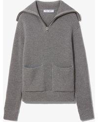 PROENZA SCHOULER WHITE LABEL Chunky Rib Half Zip Knit Cardigan - Grey