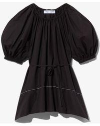 PROENZA SCHOULER WHITE LABEL Puff Sleeve Poplin Top - Black