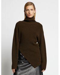 Proenza Schouler Asymmetric Merino Turtleneck Sweater - Green