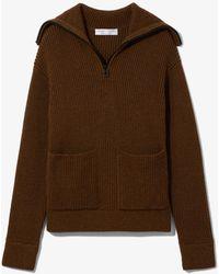 Proenza Schouler Chunky Rib Half Zip Knit Cardigan - Brown