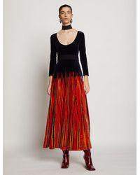 Proenza Schouler Tie Dye Velvet Scoop Neck Dress - Red