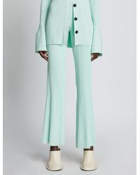 Proenza Schouler Rib Knit Cropped Trousers - Blue