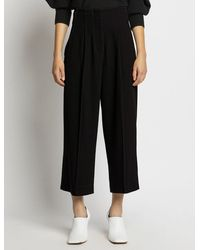 Proenza Schouler Textured Crepe High Waisted Culottes - Black