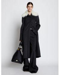 Proenza Schouler Melange Virgin Wool Shearling Collar Coat - Grey
