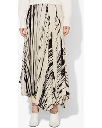 Proenza Schouler Brush Stroke Print Pleated Wrap Skirt - Black