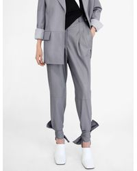 Proenza Schouler Ankle Tie Leather Pants - Gray
