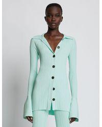 Proenza Schouler Rib Knit Collared Cardigan - Blue
