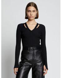 PROENZA SCHOULER WHITE LABEL Ribbed-knit V-neck Sweater - Black