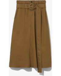 PROENZA SCHOULER WHITE LABEL Belted Cotton Skirt - Brown