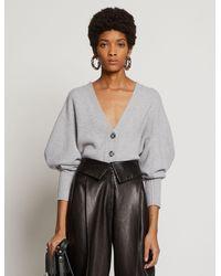 Proenza Schouler Cashmere Draped Puff Sleeve Cardigan - Grey