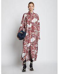 Proenza Schouler Swirl Print Jersey Shirt Dress - Red