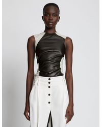 Proenza Schouler Panelled Leather Top - Black