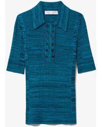 PROENZA SCHOULER WHITE LABEL Marl Silk Knit Polo - Blue