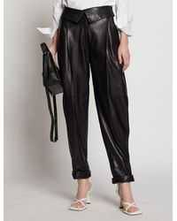 Proenza Schouler Exaggerated Leather Trousers - Black