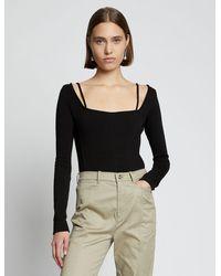 PROENZA SCHOULER WHITE LABEL Compact Jersey Bodysuit - Black